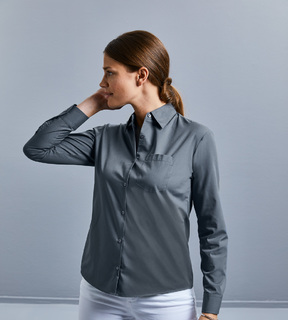 Russell Ladies' LS PolyCotton Poplin Shirt