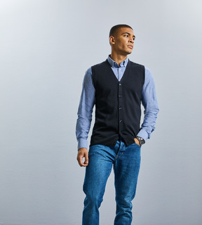 Russell Mens Sleeveless Knit Cardigan