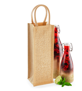 Westfordmill W433 Shimmer Jute Bottle Bag